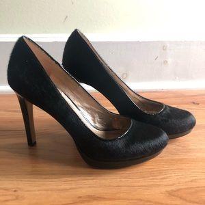 BCBG black calf hair heels